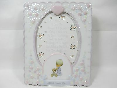 Precious Moments Jesus Loves Me Floral Porcelain 6x5 Picture Frame Enesco 2003