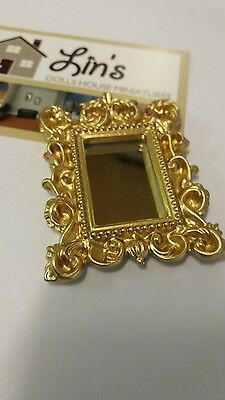 Dolls House Miniatures 1/12th Scale Accessory Gold Effect Mirror D2404 New