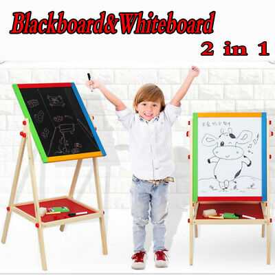Children & Kids Wooden Drawing Black/White Boards 2 in 1 Easel Chalk Board Stand