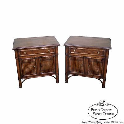"""Drexel Heritage """"Malay"""" Faux Bamboo Pair of Nightstands"""