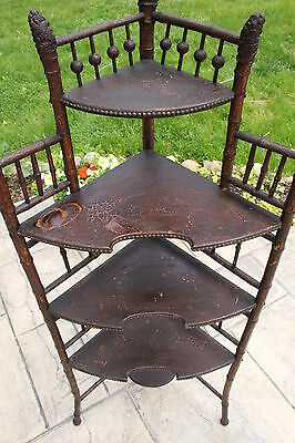 Antique Victorian Bamboo Corner Whatnot 5 Shelf Display Stand