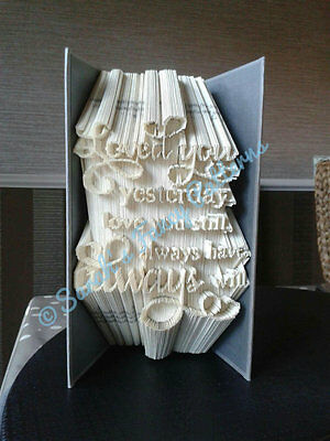 Love You Quote Book Art Folding PATTERN  #660