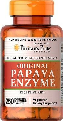 Puritans Pride Papaya Enzyme X250 Chewable Tablets Vegetarian / Digestive Aid