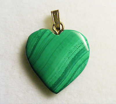 VERY NICE VINTAGE 18mm 11 cts MALACHITE HEART PENDANT WITH BAIL ZAIRE AFRICA # 3