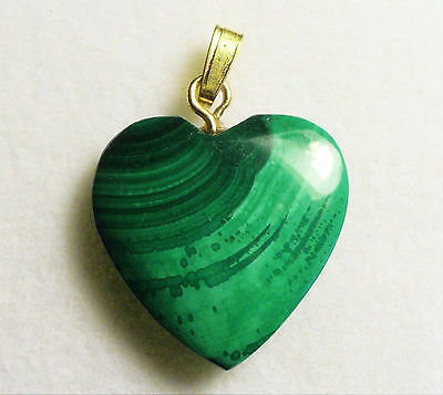 VERY NICE VINTAGE 18mm 14 cts MALACHITE HEART PENDANT WITH BAIL ZAIRE AFRICA # 6