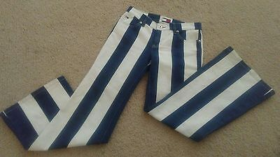 Extremely RARE Vintage Tommy Jeans Size (1) Blue & White Stripe  Hip Hop 1990's