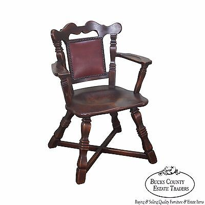 Romweber Viking Oak Leather Back Captains Arm Chair