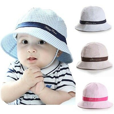 Baby Kids Boys Girls Toddle Bucket Pots Cap Summer Striped Sun Hat Cotton Lovely