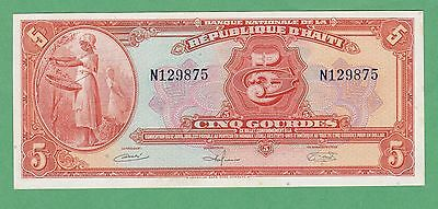 Haiti 5 Gourdes Note P-187 UNCIRCULATED W/Minor Foxing