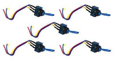 """5 Pack Blue Illuminated Toggle Switch w/ 6"""" Lead Wire SPST 12V 20A Car Auto"""