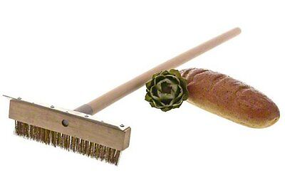 38-Inch Pizza Oven Brush with Wooden Handle Baking Brass Bristle Metal Scraper