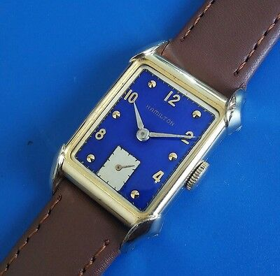 Exquisite Vintage 1948 Mans Hamilton *MILTON*  Hand Wind, Blue Dial, Fancy Case