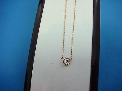 14K Rose Gold Single Bezel Diamond By The Yard Necklace, 16 Inches Long