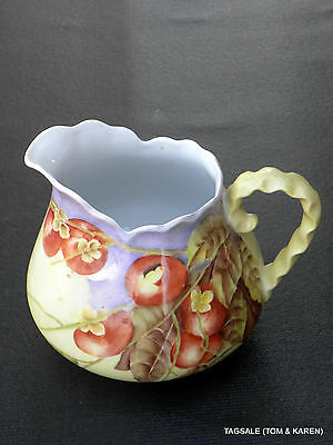 "Vintage Porcelain Lemonade Pitcher Hand Painted Apples ~ 6"" ~  Signed"
