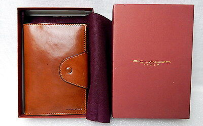 Piquadro Italy Brown Leather Address Credit Card Holder Snap Case w/ Box