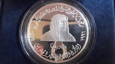 UAE Silver Coin on Shaikh Zayed's 30th Anniversary of Accession Day, 1996