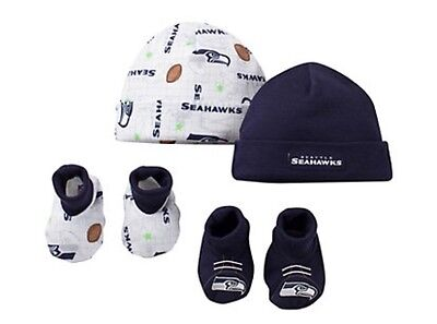 New NFL Seattle Seahawks 4 Piece Gift Set 0-6 Months Baby Hat Cap & Booties
