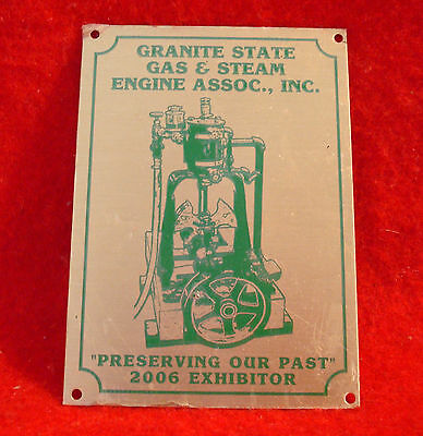 2006 Granite State Gas & Steam Association Brass Exhibitor Plaque Lombard Engine