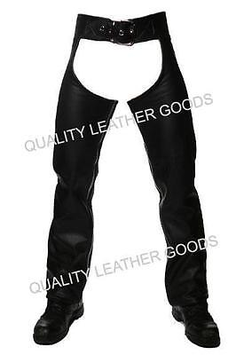Premium Synthetic Leather Chaps With Front Buckle And Back Lacing Motorcycle