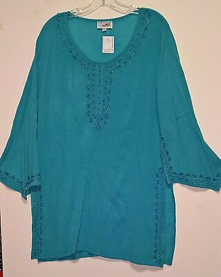 Women's ETHNIC Teal Blui Top / Tunic by Shree ~ with EMBROIDERY ~ XL 100% COTTON