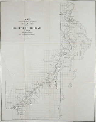 1852 ORIGINAL US Army Map Of Arkansas, Missouri, report included, Very Scarce