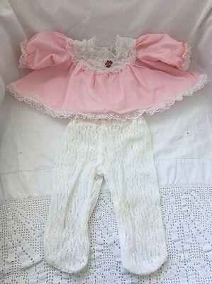 Vintage Cabbage Patch Kids Doll Sized PINK DRESS White LACE TIGHTS