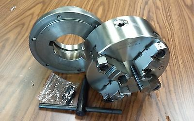"""8"""" 4-Jaw Self-Centering  Lathe Chuck top&bottom jaws w. L1 adapter plate-new"""