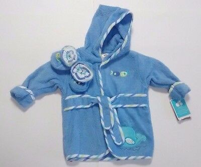 NWT Just Born Infant Boys Blue Bath Robe w/Slippers Booties Size 0-9M Fish Whale