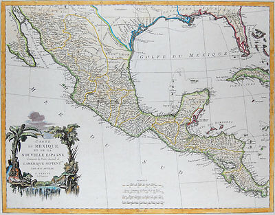 1779 ORIGINAL Large Map Of Mexico, Central America, Texas, Florida by Santini