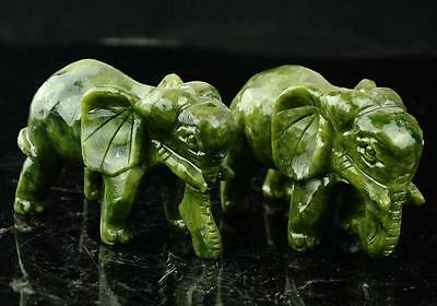 A pair 100% China natural jade hand-carved statues of elephant very good NRRR