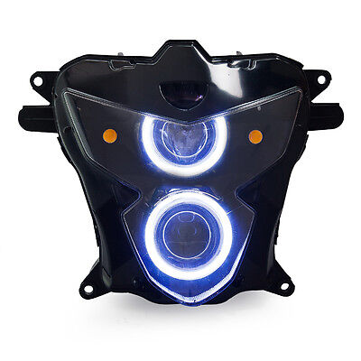 KT LED Angel Demon Eyes Headlight Assembly For Suzuki GSXR600 2004-2005 White