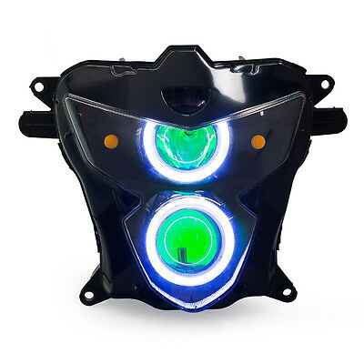 KT LED Angel Demon Eyes Headlight Assembly For Suzuki GSXR750 2004-2005 Green
