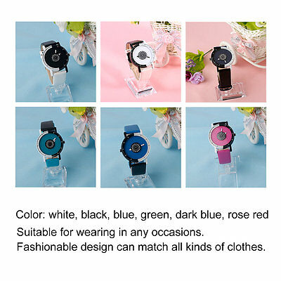 Men Women Lovers Round Shape Dual Color PU Leather Students Quartz Wrist Watch B