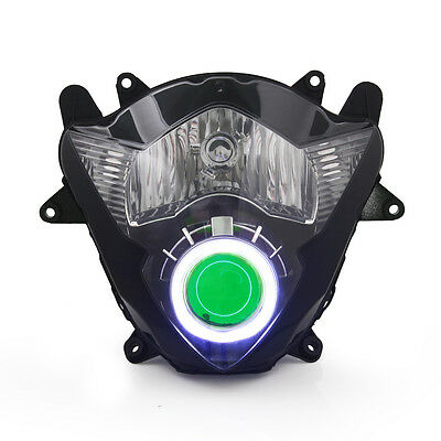 KT LED Angel Demon Eyes Headlight Assembly for Suzuki GSX650F 2008-2009 Green