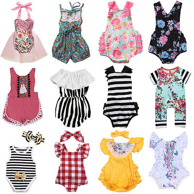 US STOCK Newborn Baby Boys Girls Floral Romper Bodysuit Outfits Sunsuit Clothes