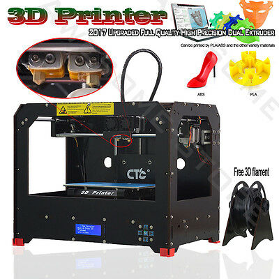 2017 Upgraded Full Quality High Precision Dual Extruder 3D Printer - PLA or ABS
