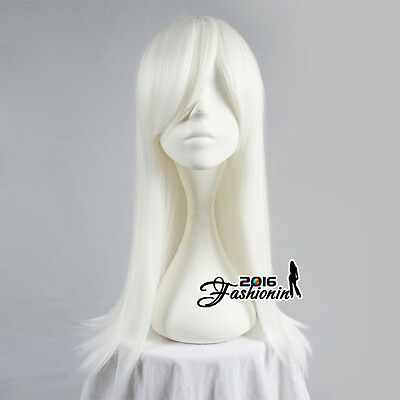 55CM White Long Straight Party Women Synthetic Hair Cosplay Wig Heat Resistant