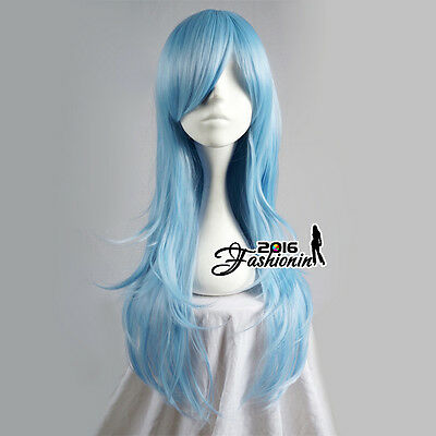 70CM Light Blue Long Wavy Party Women Basic Synthetic Hair Cosplay Wig+Wig Cap