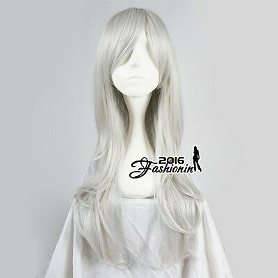 70CM Silver White Lolita Long Wavy Party Women Hair Cosplay Wig Heat Resistant