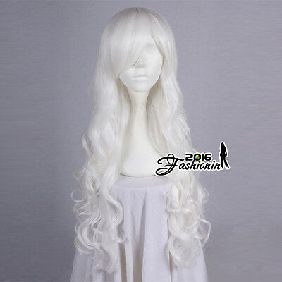 80CM Long White Fancy Curly Hair Women Lolita Party Cosplay Wig Heat Resistant