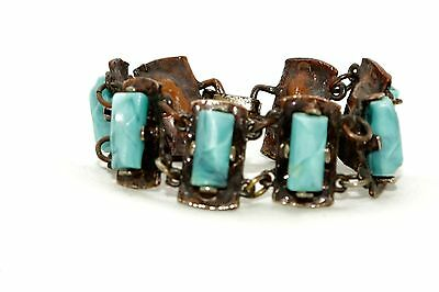 Arts and Crafts Style Handmade 1970's Copper bracelet with blue gemstones