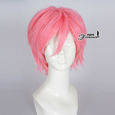 30CM Pink Unisex Short Layered Party Fashion Synthetic Cosplay Wig+Wig Cap