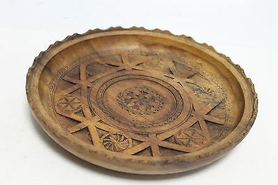 Antique Primitive Old Wooden Carving Plate