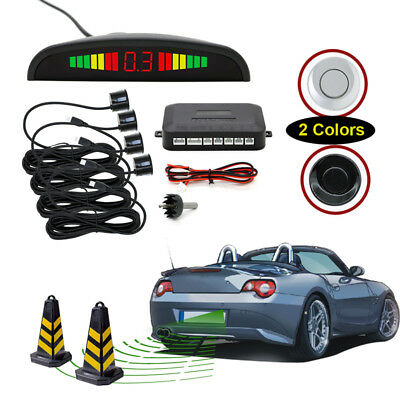 Car Reverse Parking Sensor Rear 4 Sensors LCD Display Audio Buzzer Alarm white
