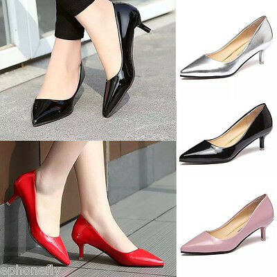 New Elegant Classic Office Dress Shoes Women Lady Fashion Med-Heel Leather Shoes