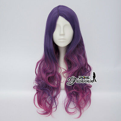 65CM Lolita Mixed Purple Ombre Long Women Curly Fashion Party Hair Cosplay Wig