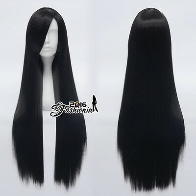 Synthetic Black Long Straight Women Basic Party Hair Heat Resistant Cosplay Wig