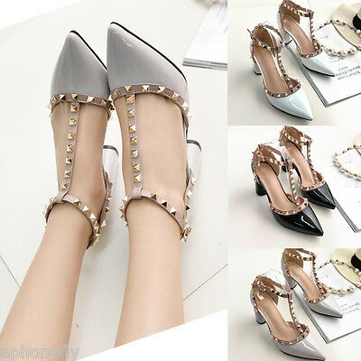 Women's Stiletto Sandals Pointy Toe Ankle T Studded Strap High Heels Rivet Shoes