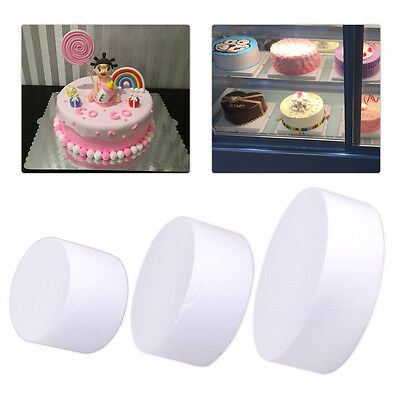 "4"" 6"" 8"" Round Styrofoam Foam Cake Dummy Mold Wedding Party Decoration DIY Craft"