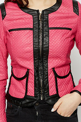 Womens new pink pocket leather quilted biker zip short crew neck jacket 8 10 12